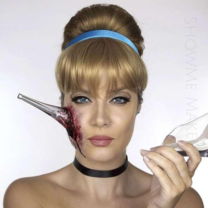 Com visão macabra, mulher usa maquiagens e se transforma em princesas da Disney