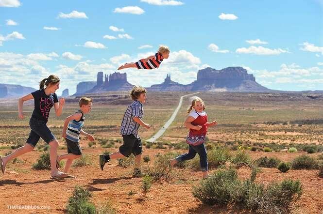 Família cria série de imagens onde filho com Síndrome de Down parece voar