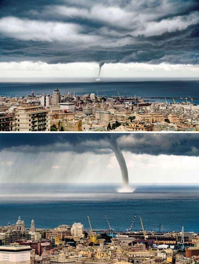 Fotógrafo em férias captura momento em que tornado atinge mar da Itália
