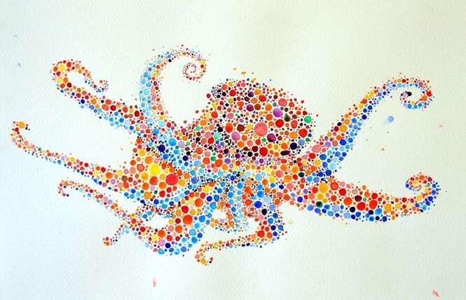 Pinturas criativas de animais feitos de pontos coloridos