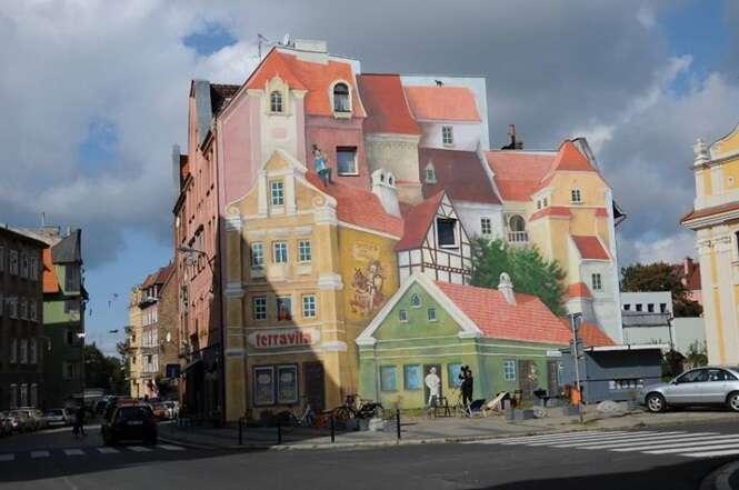 Mural 3D impressiona em rua de cidade polonesa