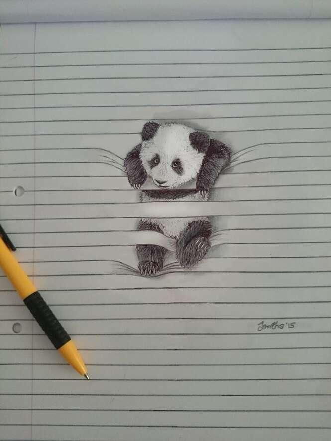 Artista cria trabalho incrível com desenhos de animais tentando escapar do papel
