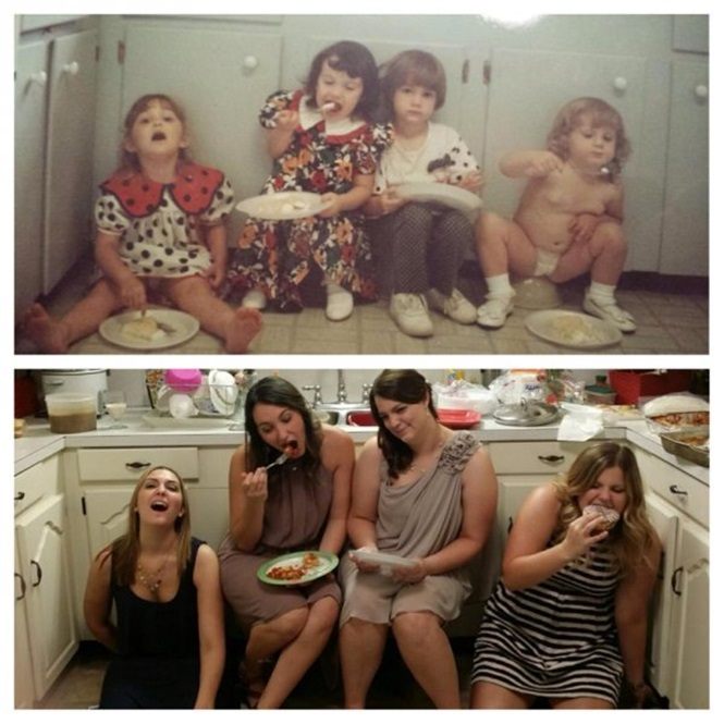 Antes e depois de fotos em família