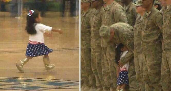 Vídeo flagra momento emocionante em que menina quebra protocolo e interrompe recepção de boas-vindas de soldados para abraçar o pai