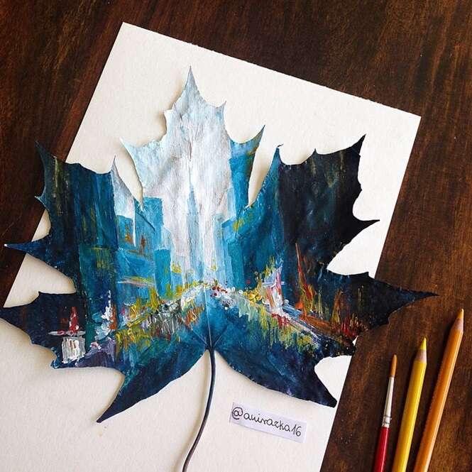 Artista usa folhas que caem no outono como telas para suas pinturas