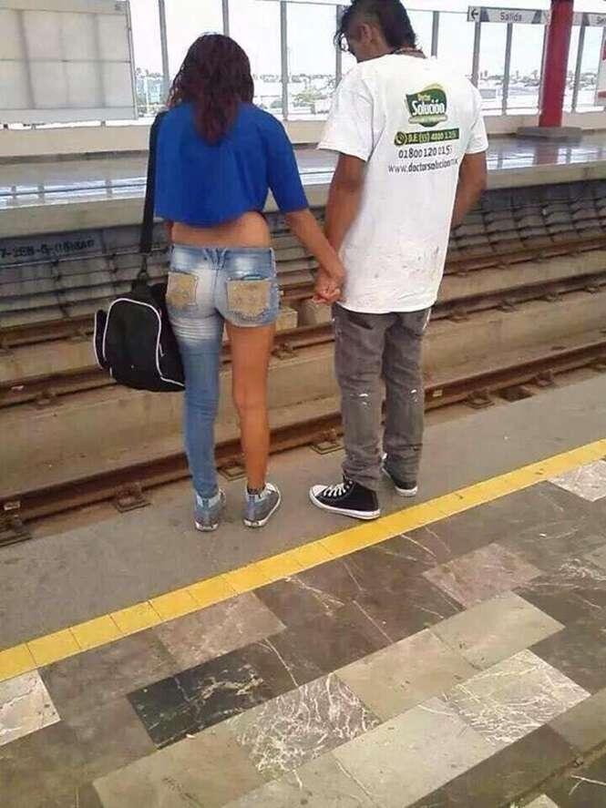Pessoas com um estilo de moda questionável