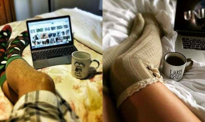 Garota posta no Facebook foto de suas pernas e pai a surpreende fazendo o mesmo com as pernas dele