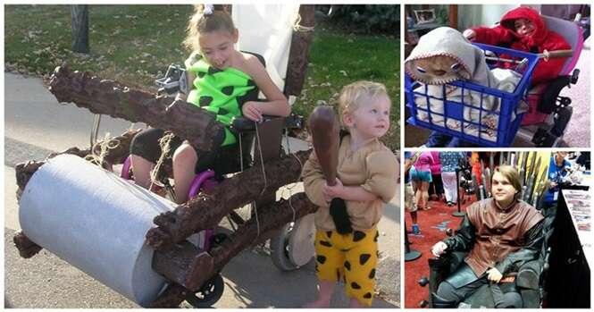 Fantasias divertidas do Dia das Bruxas para crianças e adultos cadeirantes