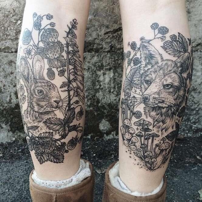 Tatuador se inspira na fauna, flora e desenhos no estilo vintage em suas tatuagens