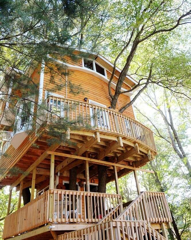 Avô constrói casa na árvore fantástica para seus netos