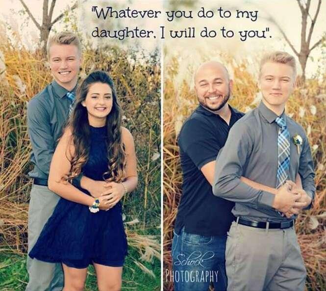 Pai se torna sensação na internet ao fazer fotos com namorado de sua filha para repetir cenas que jovem casal vivia
