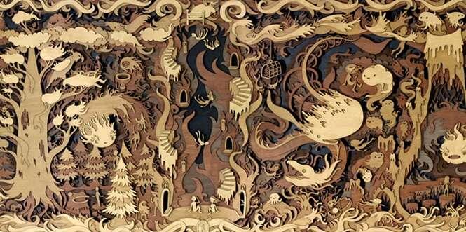 Artista constrói mundos da fantasia com recortes em madeira