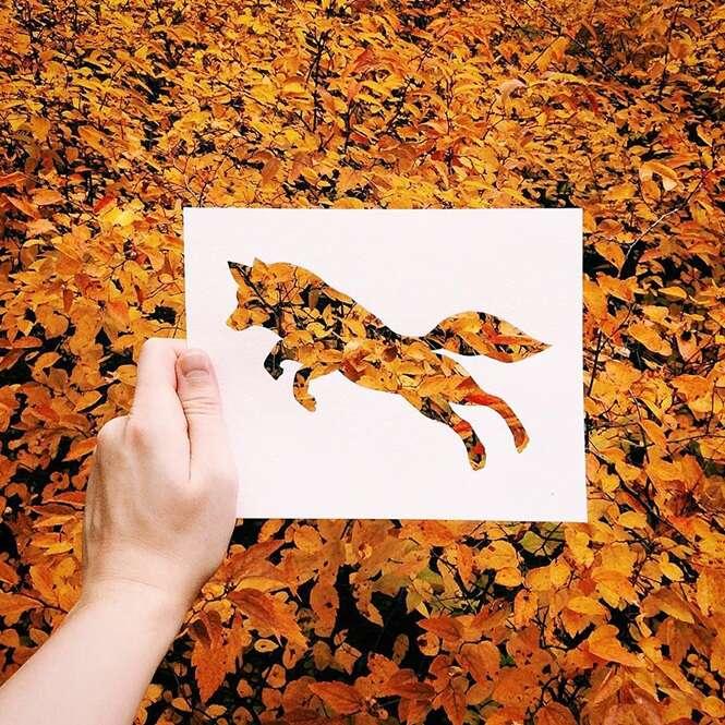 Artista cria silhuetas de papel e aproveita as cores da natureza para dar vida aos seus trabalhos