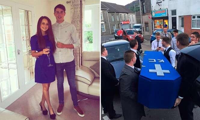 Jovens organizam funeral de amigo que os trocou pela namorada e brincadeira se torna viral