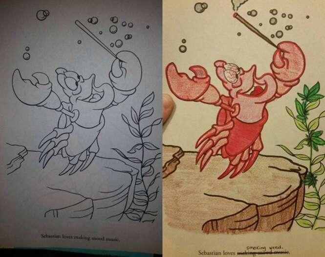 Pessoas que não podem usar livros infantis para colorir