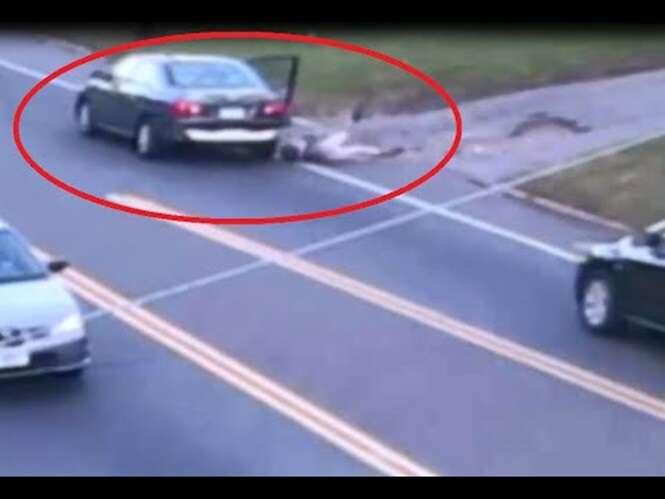 Vídeo flagra momento em que adolescente sequestrada salta de carro em movimento