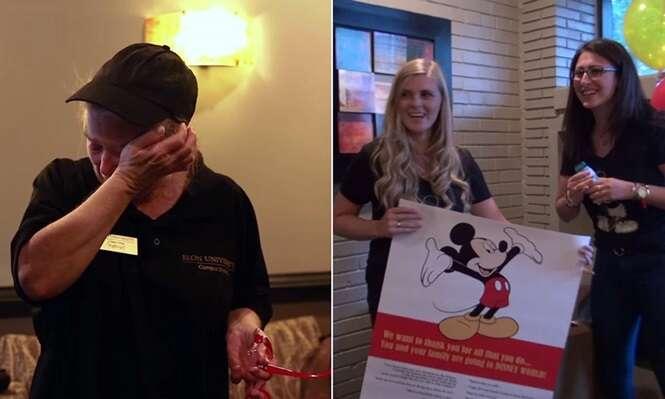 Vídeo mostra momento comovente em que cantineira ganha de estudantes passagem para visitar a Disney