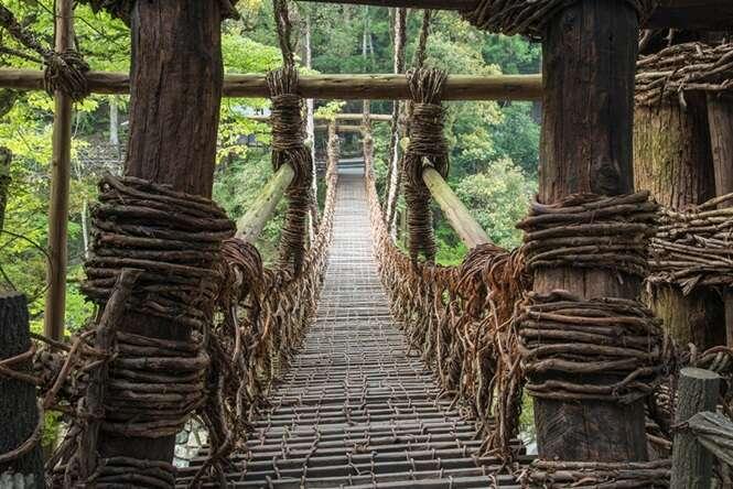 Japan, Shikoku Region, Tokushima Prefecture, Miyoshi, View of Kazura Bridge
