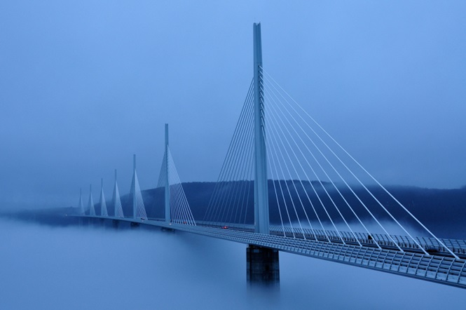Millau viaduct viaduc  in clouds and fog. Image shot 2009. Exact date unknown.