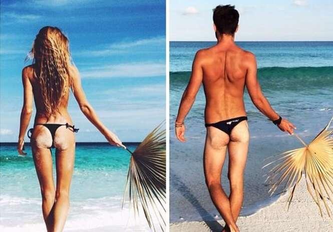 Nova mania na internet é zombar das fotos da namorada ou irmã imitando as poses das imagens