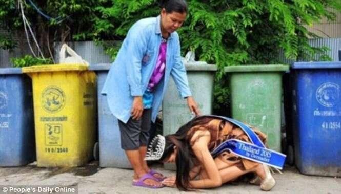 Imagem comovente de Miss Tailândia 2015 ajoelhada em frente à mãe catadora comove internautas
