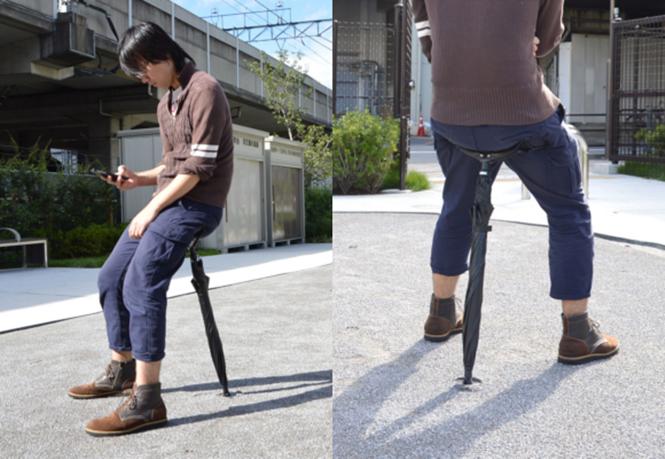 Guarda-chuva inovador que pode ser usado como cadeira é lançado no Japão