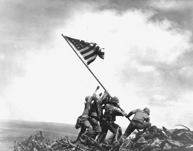 Flag raising on Iwo Jima. Left to right: Pvt 1st class Ira H. Hayes, Pvt 1st class Franklin Sousley, (KIA), Sergeant Michael Stank, (KIA), Pharmacist Mate 2/c John H Bradley, Pvt 1st class Rene A. Gagnon and Corporal Harlon H Block, (KIA).