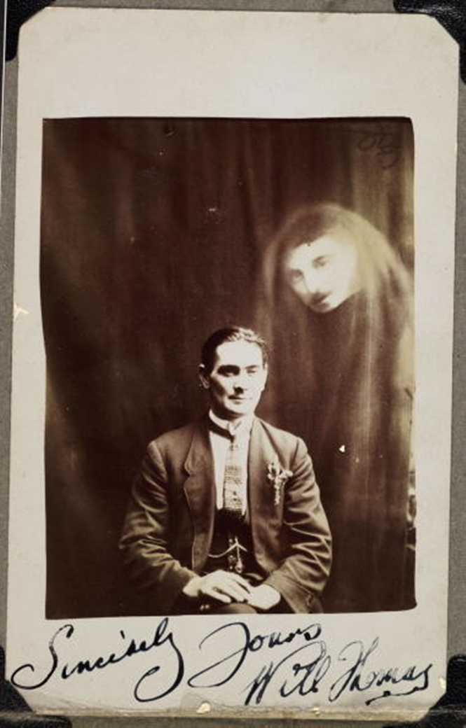 Will Thomas with an unidentified spirit, c 1920.