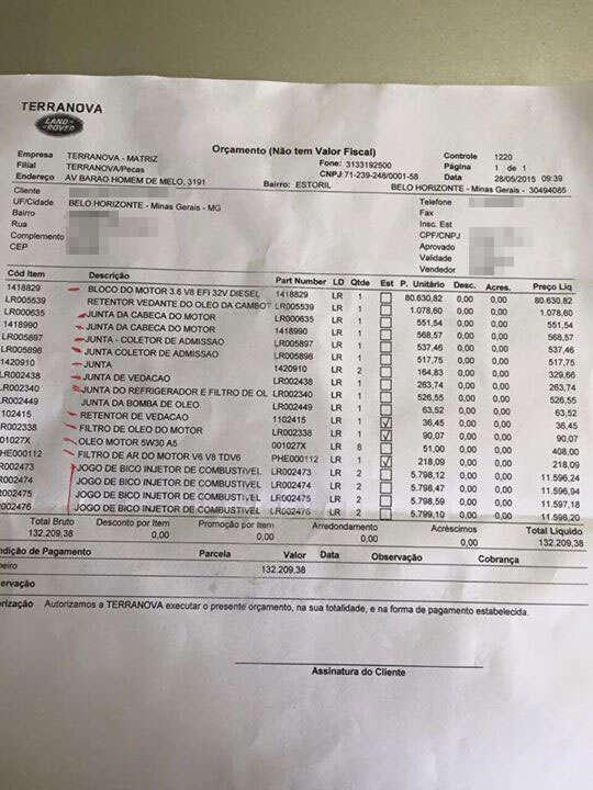 Orçamento para manutenção em concessionária Land Rover supera R$ 130 mil e internauta fica furioso