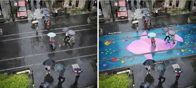 Pinturas coloridas aparecem em rua quando está chovendo