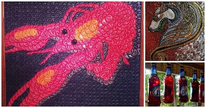 Obras de arte feitas com itens de cerveja