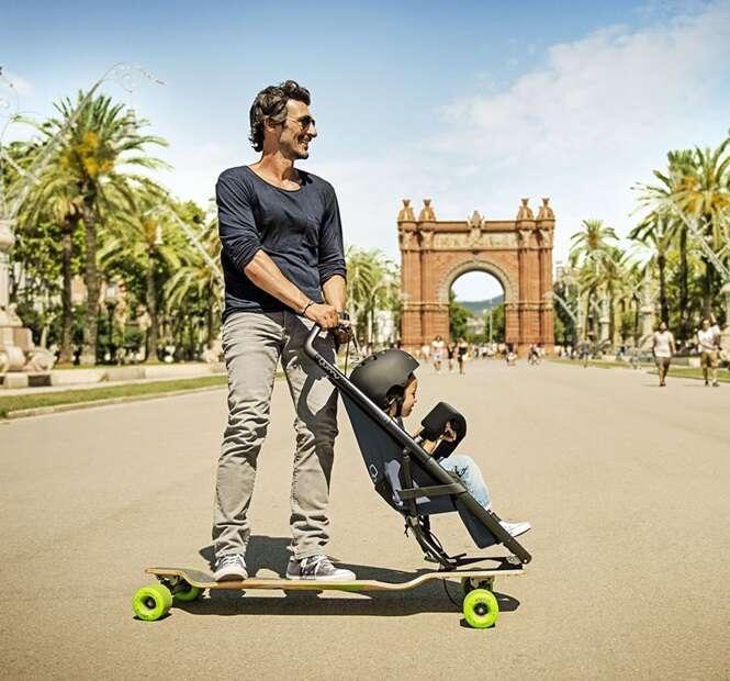 Longboard modificado permite passear com o filho enquanto se diverte