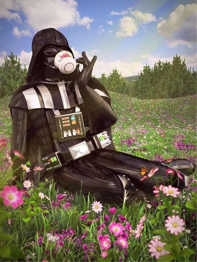 Artista recria personagens de Star Wars em férias