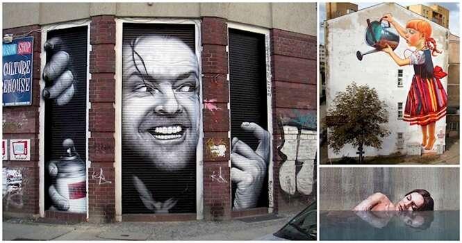 Incríveis exemplos de arte de rua que aproveitam os arredores