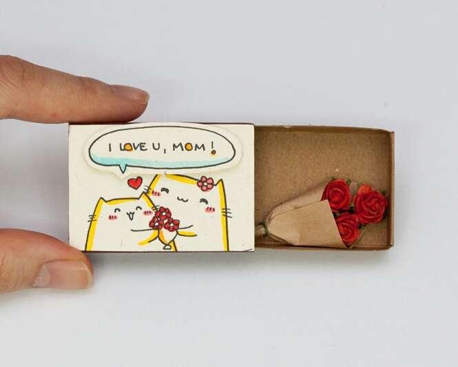 Pequenos cartões em caixas de fósforo trazem lindas mensagens