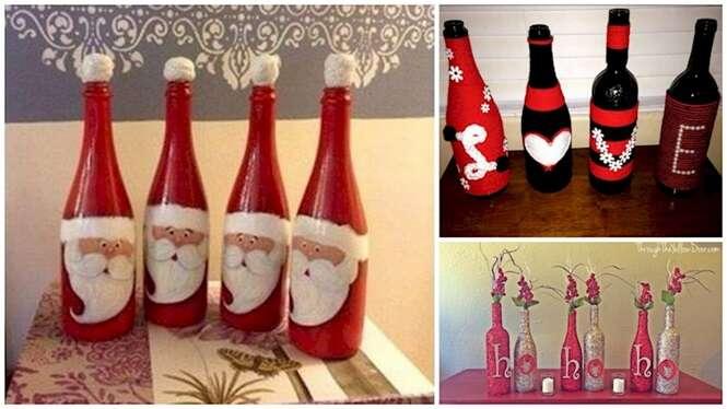 Ideias de decoração com garrafas para o Natal