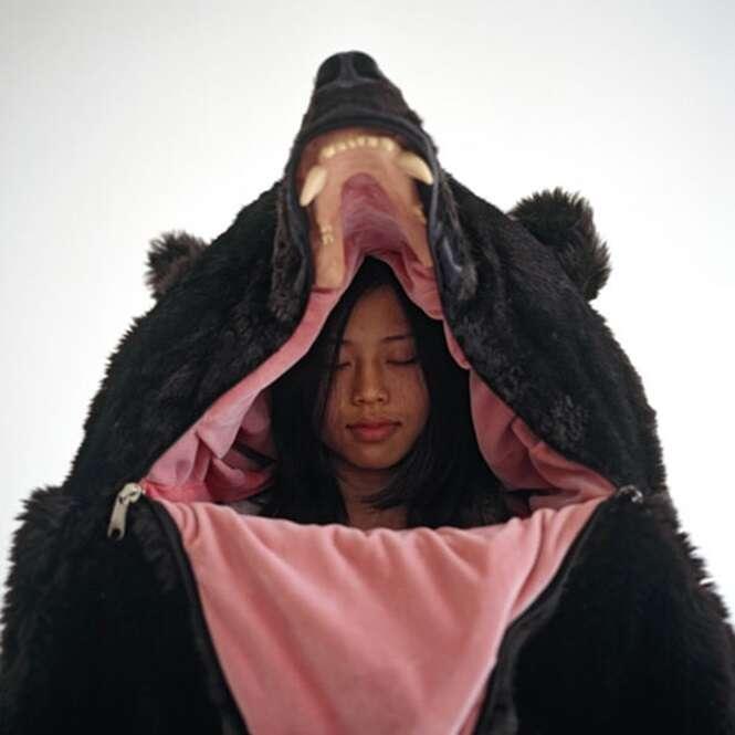 Saco de dormir em formato de urso promete proporcionar uma noite tranquila