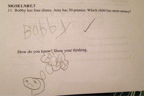 Questão de teste pede que aluno mostre seu pensamento para concluir pergunta anterior e resposta de criança faz sucesso na web