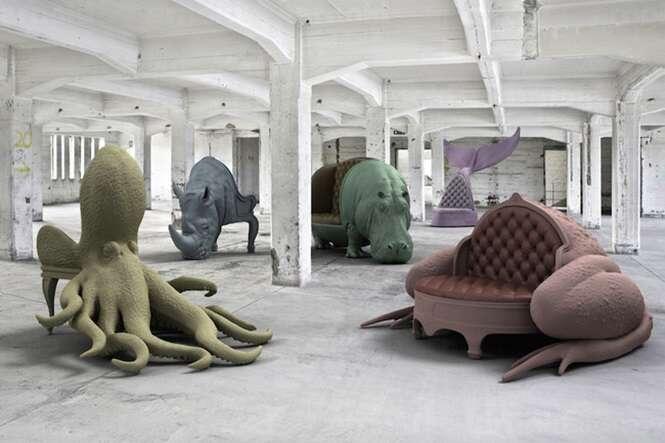 Artista se inspira em animais para transformar mobiliários antigos
