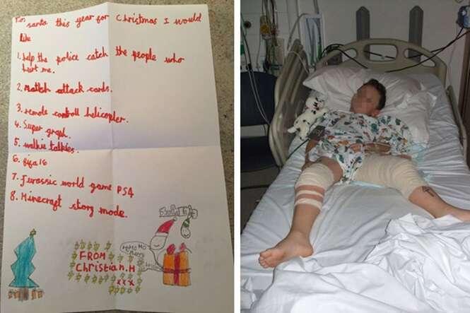 Menino baleado na porta de casa escreve carta comovente com pedido diferente ao Papai Noel