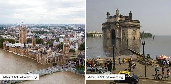 Fotos chocantes mostram como ficarão famosos pontos turísticos do mundo caso ninguém tome providências contra o aquecimento global