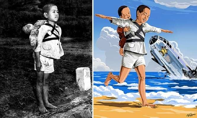 Artista usa fotos de crianças em guerras como moldes para criar imagens que vão te dar sensação de esperança