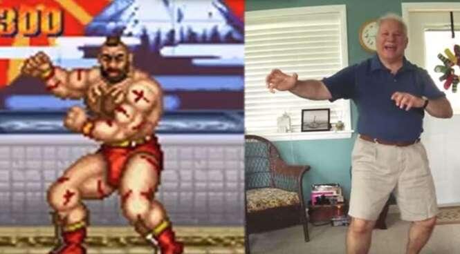 Idoso faz sucesso ao reproduzir movimentos de personagens do game Street Fighter
