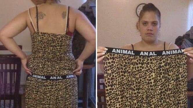 """Mulher fica constrangida ao ter que voltar à loja de roupas para devolver pijama que trazia acidentalmente palavra """"ANAL"""""""