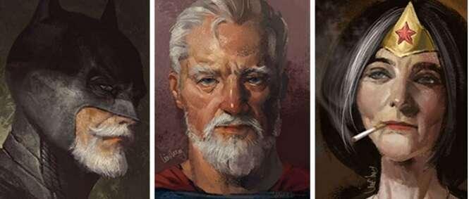 Artista cria imagens mostrando como seriam os super-heróis se fossem velhos