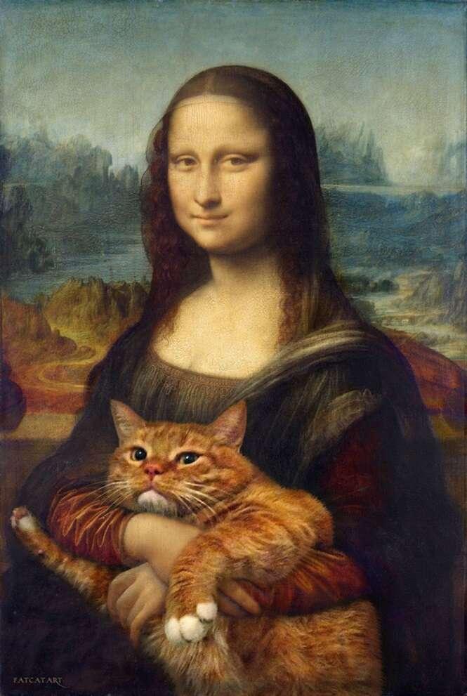 Artista insere seus gatos em pinturas famosas