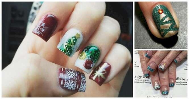 Unhas inspiradas em árvores de Natal