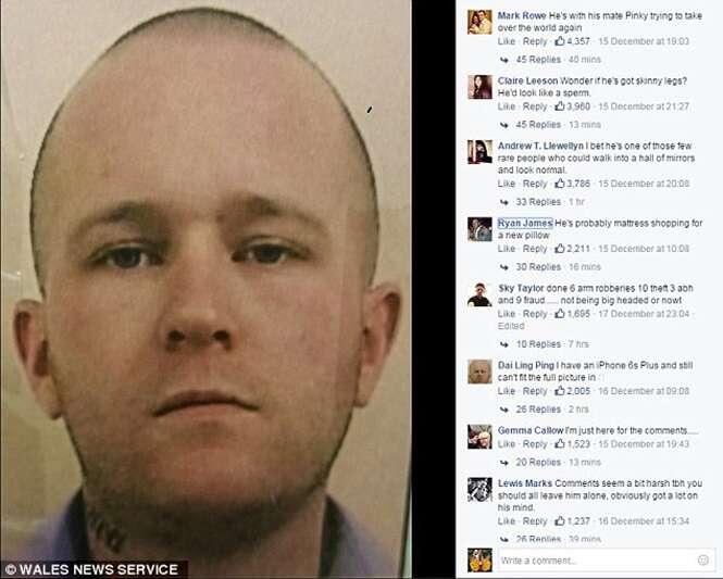 Polícia divulga imagem de foragido no Facebook e internautas zombam do rapaz por causa do tamanho de sua cabeça