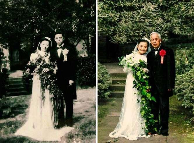 70 anos depois, casal de idosos com quase 100 anos cada recria fotos do próprio casamento