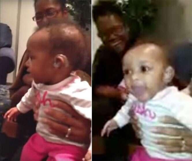 Bebê dá gritos de alegria ao ouvir a voz de sua mãe pela primeira vez
